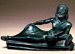 Бронзовая статуэтка пирующего из Спарты. Ок. 530—500 годов до н. э.